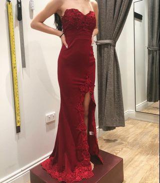 Maroon Lace Formal Dress