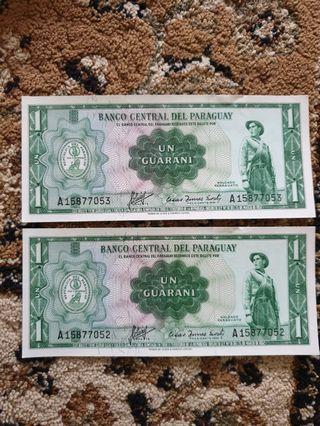 1952 Republic *Banco Central Del Paraguay* 1 Guaraní running serial pair GEM UNC
