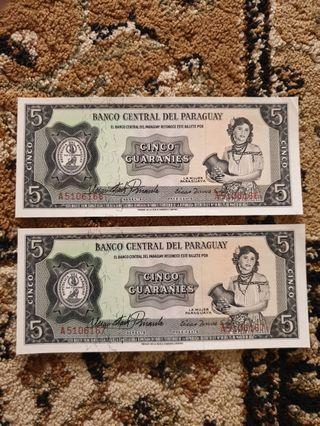1952 Republic *Banco Central Del Paraguay* 5 Guaraníes running serial pair GEM UNC