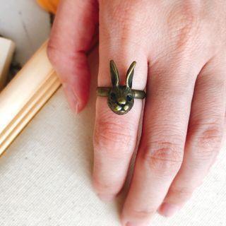 🚚 仿舊復古 兔子造型 可調式戒指
