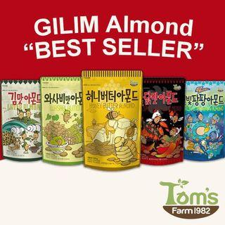 GILIM Tom's Farm Almond Assorted Flavour Bestseller Series Honey Butter, Wasabi