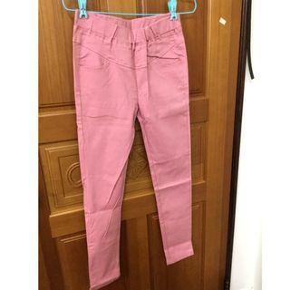 【全新】彈性長褲 粉色