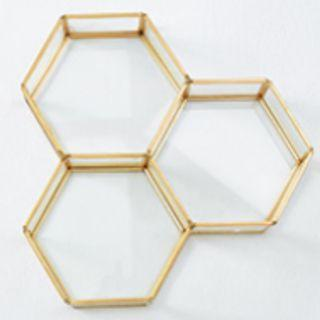 RENTAL: D196 GOLD HEXAGON TRAYS (3 IN A SET)