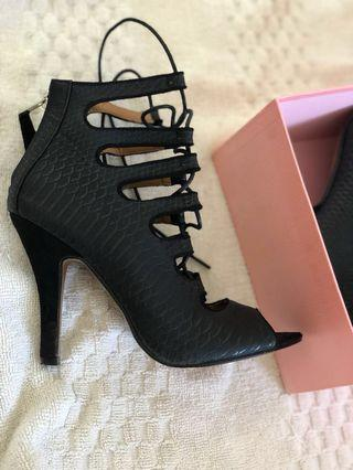 Ava & Ever Black Lace up heel
