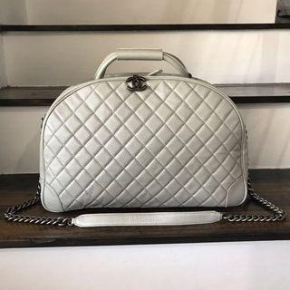 Chanel Metallic Caviar Quilted Large Airlines Round Trip Bowling Bag Silver
