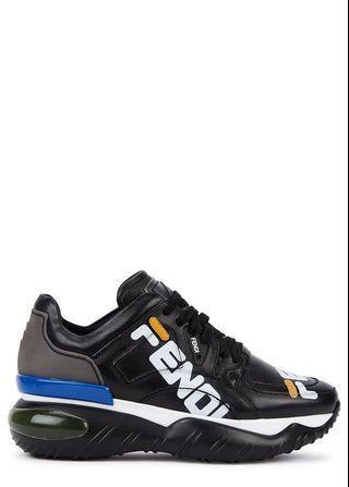 Fendi X Fila black leather trainers