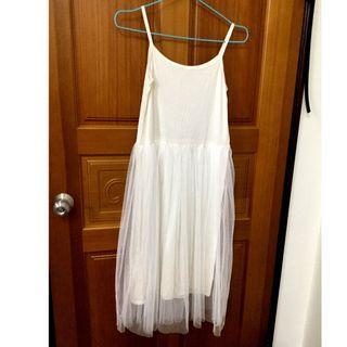 【全新】連身網紗長裙 白色
