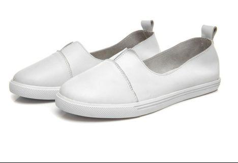 Real leather slip on shoes