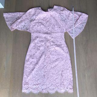 Valentino cut label pink lace dress