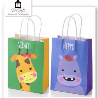 [PS]12/pack Giraffe Hippo Paper Goodie Bags