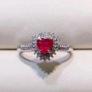 18k紅寶石鑽石戒指