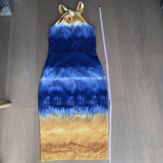 H&M halter gold and blue Evening Dress