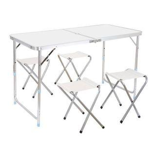 🚚 OFFER PRICE - Portable foldable aluminum table + 4 stools