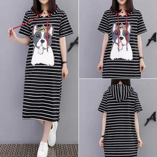 Strip long hooded dress