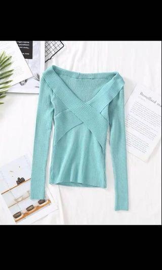INSTOCK Ladies Knitted Wrapped Crossover Overlap Long Sleeve Wrap Top in Seafoam Cyan Color