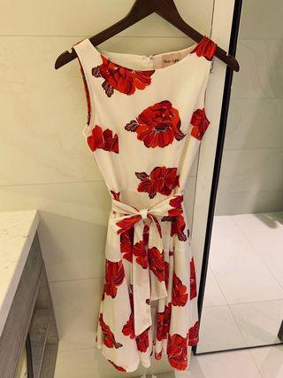 Red Flower Phase Eight Occasions Dress Small Size UK 8