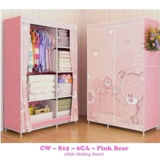 OFFER PRICE - Canvas Clothes Wardrobe Shelf (Pink Bear)