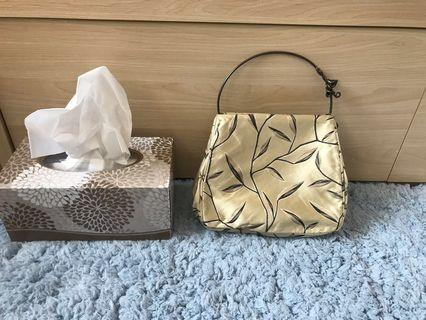 Prada beige satin handbag