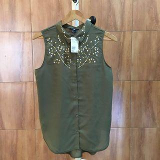 [FREE DELIVERY] BNWT H&M Beaded Sleeveless Top