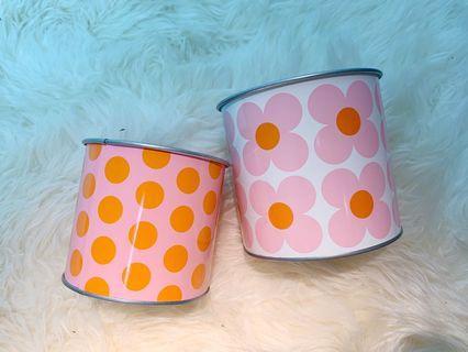 🚚 Geometric Flower Tin Cans (IKEA)