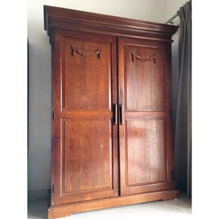 Antique British Colonial Teak Wood Wardrobe