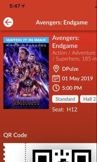 Avengers End Game ticket