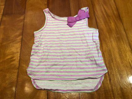 美國 Oshkosh 小朋友 / 小童 / 女童 / 童裝 蝴蝶結 間條 小背心 / vest size 18 months