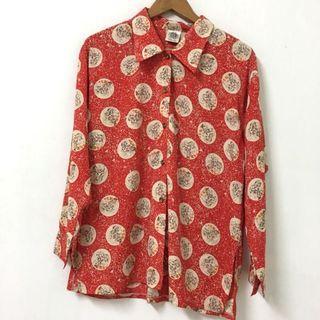 🚚 復古紅衣花襯衫