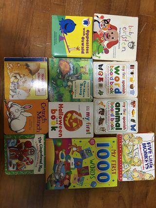 Assorted children's books.