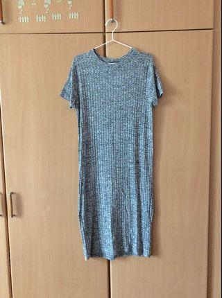 F21 ribbed grey keyhole dress