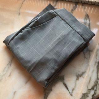 日本gu 灰色格仔西褲 checked pants trousers smart casual