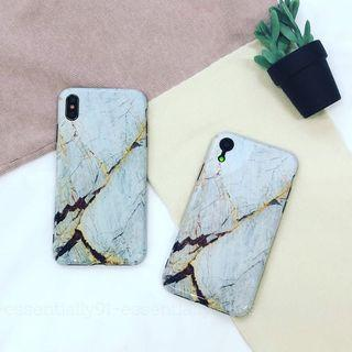 Grey Cracked Marble Glossy Phone Case