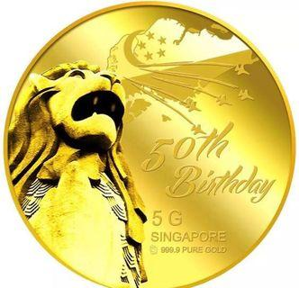 50th Birthday Merlion Gold coin from puregold with lucky number 1518