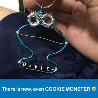 Cookie Monster Wirecraft Personalised Keychain [Sesame Street fame; as gift; uncle anthony] FOR MORE SUCH CRAFTS, 👉 http://carousell.com/p/130210386