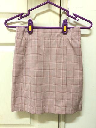 🚚 全新 粉色 格紋  格子裙 A字裙 短裙