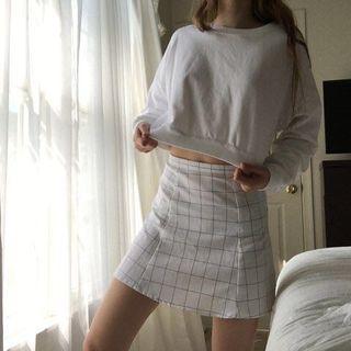 aa white grid skirt