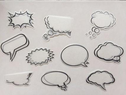 Shoutout speech/thought bubble flake stickers