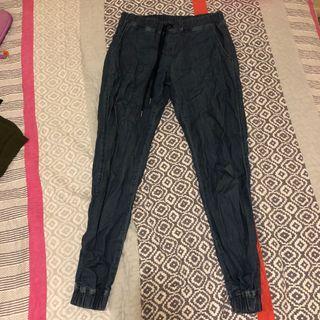 cuffed denim look pants