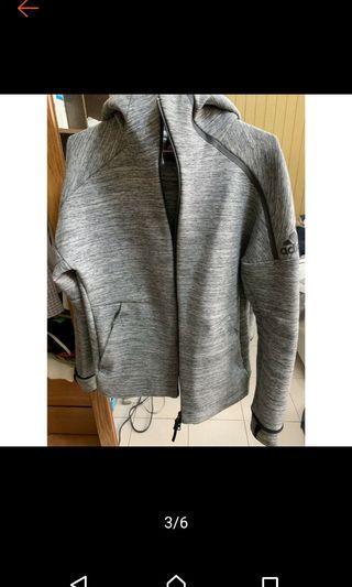 🚚 Adidas z.n.e pulse hoodie 貝克漢 林書豪款雪花灰修身外套M號