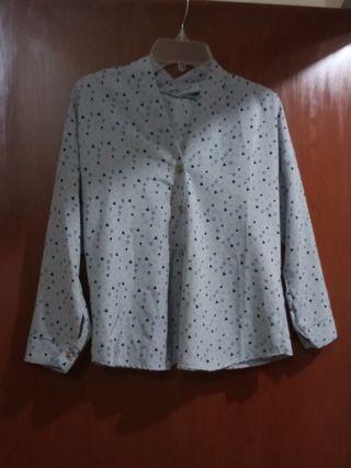 V neck blouse / atasan shirt top baju wanita lengan panjang longsleeves / celana pants kulot long cullotes