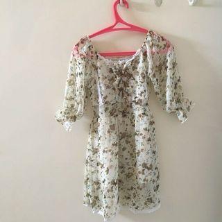 Dress korea flower / bunga mini