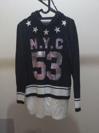 Long hoodie sweater wanita / outer blazer cardigan