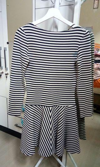 Zara Navy Striped Long Sleeve Skater Dress