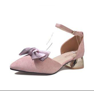 Pointy Ribbon Pink Strap Sandals