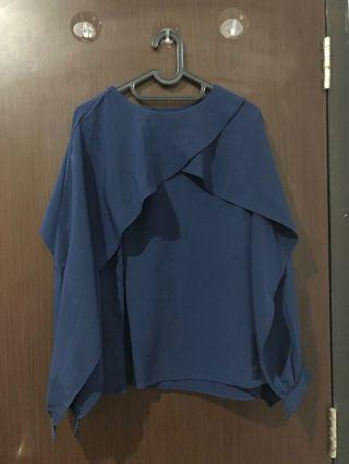 Et Cetera Dark Blue Slit Sleeve Detailed Blouse