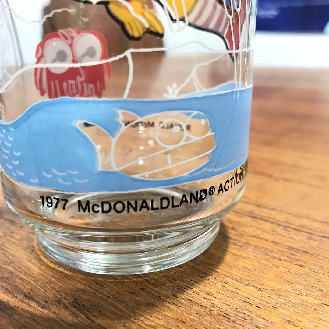 絕版1977年 Vintage中古復古懷舊麥當勞叔叔滑嘟嘟漢堡神偷巨無霸警長芝士漢堡市長克魯克船長玻璃杯可樂杯高身杯收藏品罕有