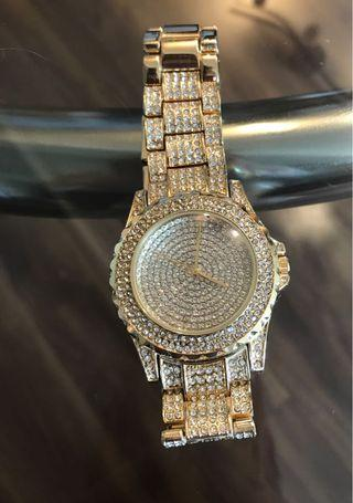 Gold Watch with diamond studs