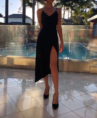 Missguided thigh split black midi dress