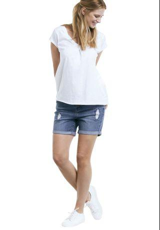 Ellos Plus Size Distressed Denim Girlfriend Jeans Shorts