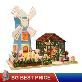 ❤️(SG BEST) HOOMEDA DIY Dollhouse with LED: Amsterdam Windmill Flower House (M036) – 阿姆斯特丹风车花房– 弘達 Hongda Doll House [BEST PRICE GUARANTEED – LITTLEBUILDERS 3D PUZZLES – IDEAL GIFT]